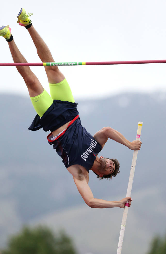 Coronado's Edward Andrews clears 15-0 in the pole vault to tie for the title at the NIAA Track & Field Championships at Carson High in Carson City, Nev., on Friday, May 18, 2018. Cathleen Allison/ ...