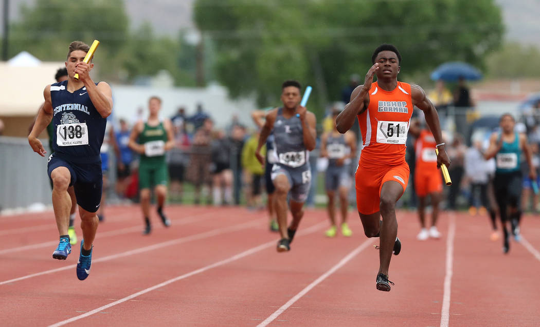 Kyu Kelly runs the anchor leg as Bishop Gorman wins the 4A 400 relay at the NIAA Track & Field Championships at Carson High in Carson City, Nev., on Friday, May 18, 2018. Cathleen Allison/Las Vega ...