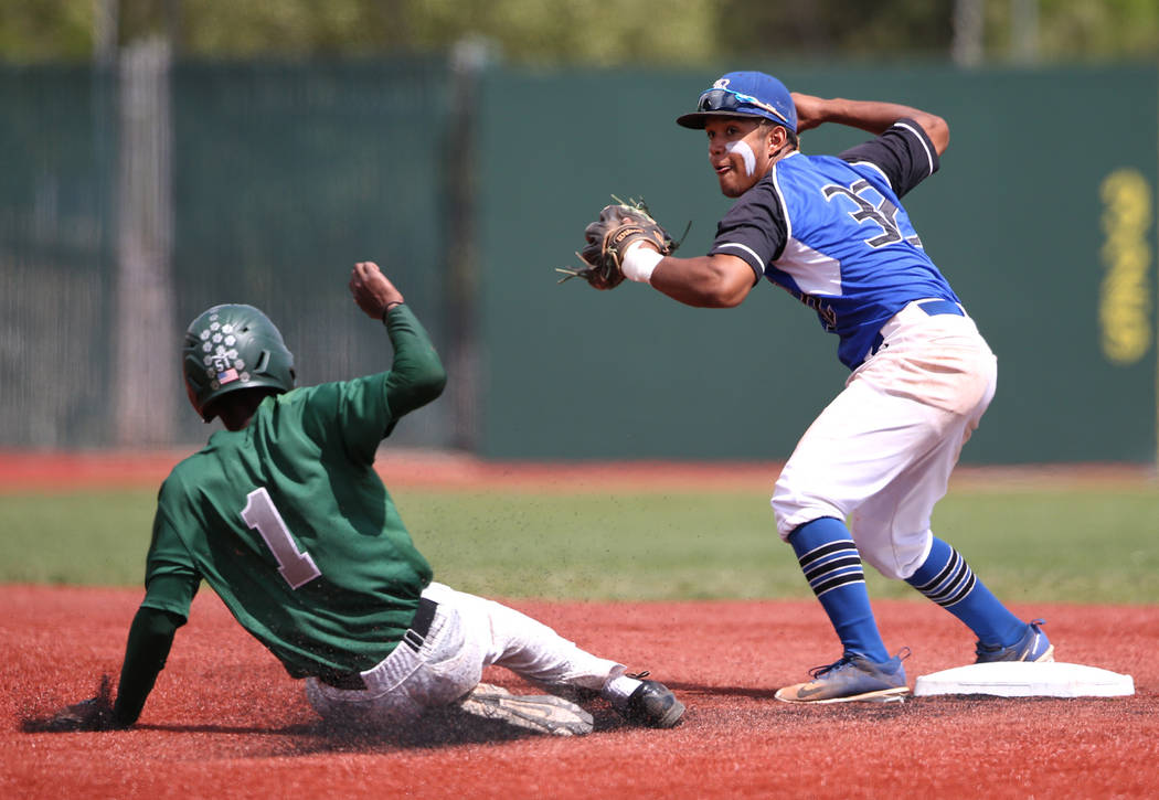 Basic's Christian Rivero turns a double play against Palo Verde's Scott Crosby during the NIAA 4A baseball championship game in Reno, Nev., on Saturday, May 19, 2018. Palo Verde won 4-2. Cathleen ...