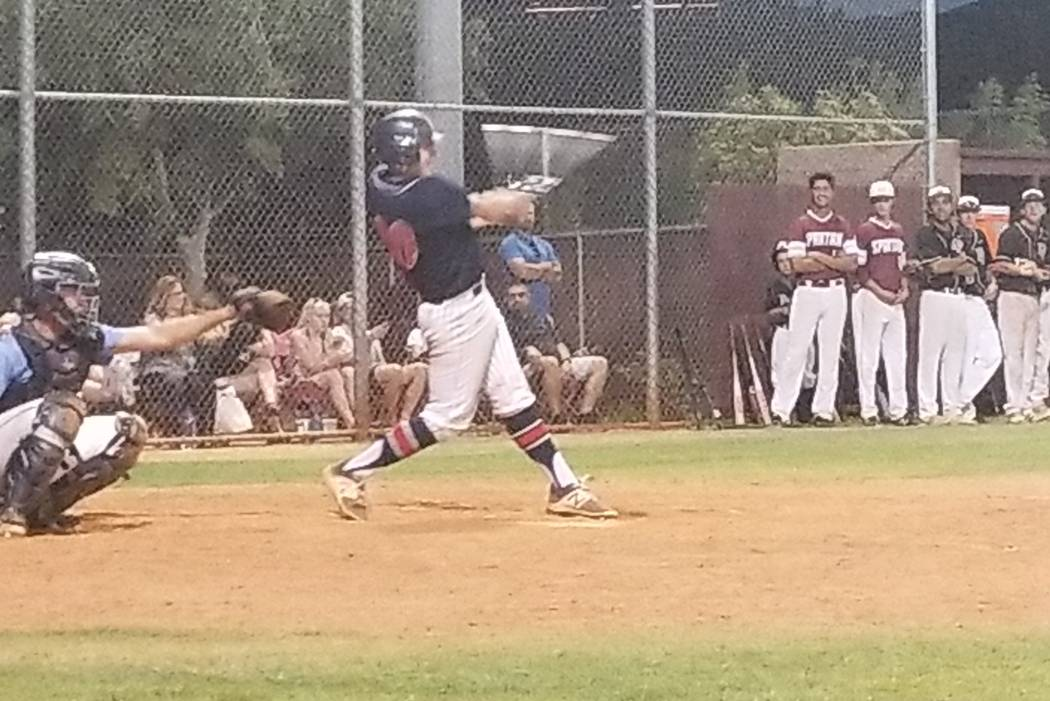 Coronado's Cristian Herrera doubles during the Class 4A Senior All-Star Game at Faith Lutheran on Thursday, May 24, 2018. The Sunrise beat the Sunset, 11-5. (Damon Seiters/Las Vegas Review-Journal)
