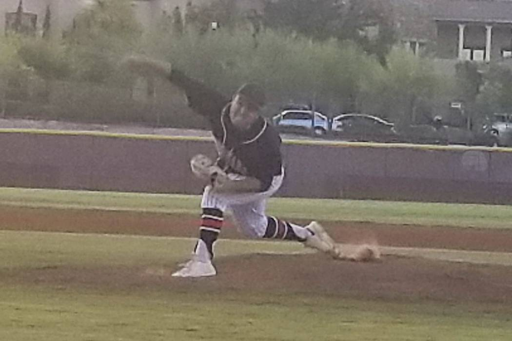 Coronado's Ryan Murphy fires a pitch during the Class 4A Senior All-Star Game at Faith Lutheran on Thursday, May 24, 2018. Murphy got the win in relief as the Sunrise beat the Sunset, 11-5. (Damon ...