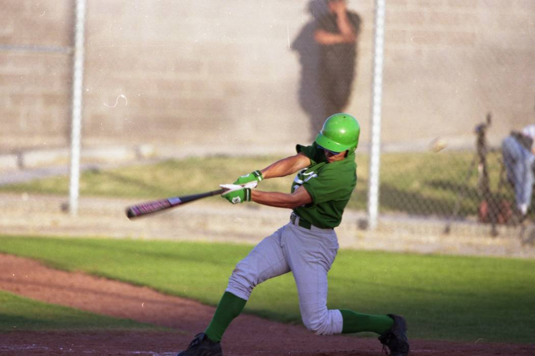 Green Valley's Dave Krynzel takes a swing against Silverado at Green Valley High School in Henderson in March of 1999. (Review-Journal file photo)
