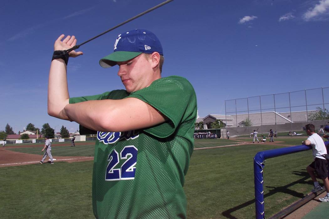 View--Green Valley pitcher Jake Dittler stretches during a game against Silverado at Green Valley Thursday, April 26, 2001. Dittler did not pitch in the game. View photo by K.M. Cannon