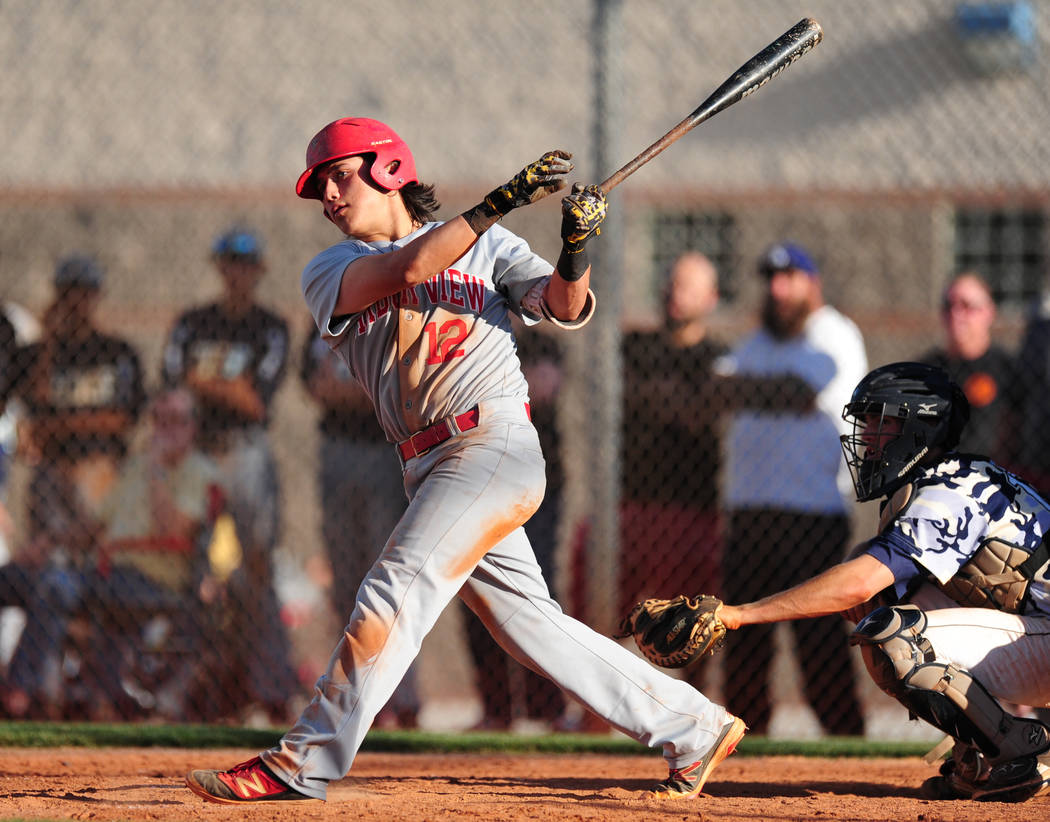 Arbor View shortstop Nick Quintana hits an RBI double against Shadow Ridge in the seventh inning of their prep baseball game at Shadow Ridge High School in Las Vegas Monday, May 2, 2016. Shadow Ri ...