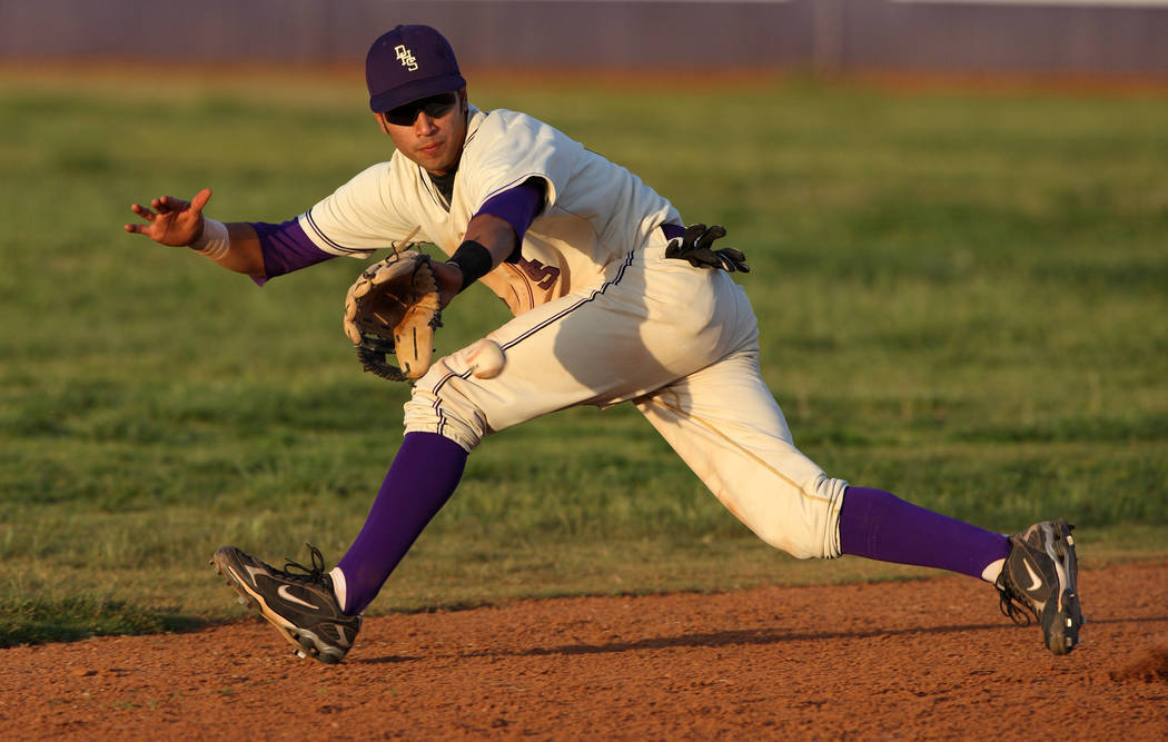 Durango High School baseball player Niko Vasquez fields a ground ball during a baseball game against Bonanza at Durango High School Wednesday, April 30, 2008. K.M. CANNON/REVIEW-JOURNAL