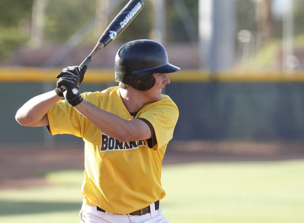 Bonanza High School baseball shortstop Kris Bryant takes an at bat with the Sunset Team during the Southern Nevada Baseball Coaches Association All-Star Game at the College of Southern Nevada base ...