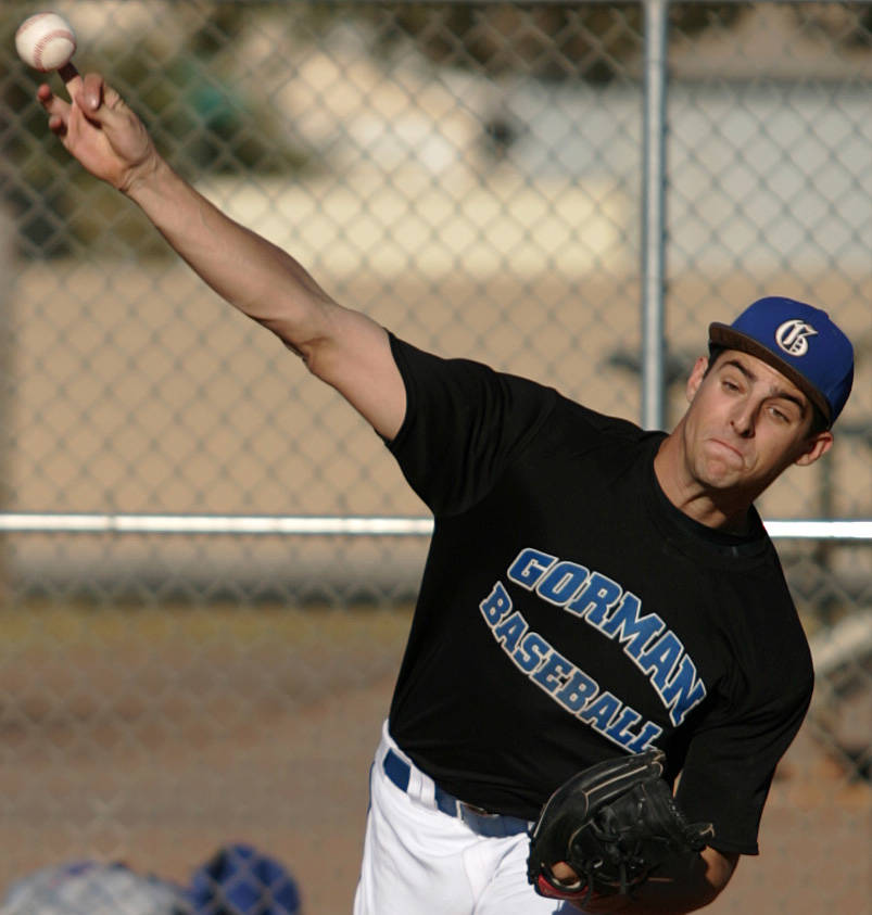 Bishop Gorman High School baseball player Donn Roach warms up in the bullpen at Paul Meyer Park on Wednesday, March 5, 2008. Roach, a senior, is a pitcher for the baseball team. SARA TRAMIEL/REVIE ...