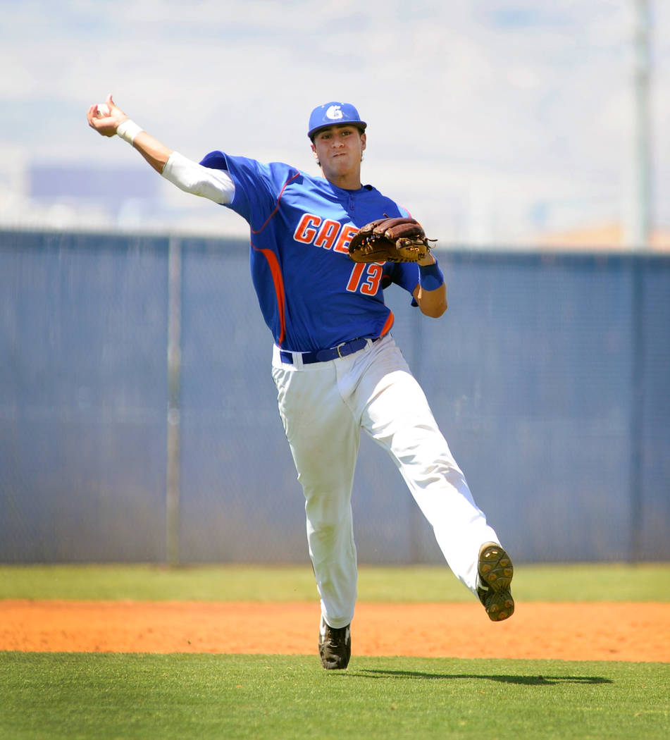 Bishop Gorman's Joey Gallo fires the ball to first base to make the out during the Sunset Region baseball championship game against Sierra Vista at Sierra Vista High School on Friday, May 13, 2011 ...