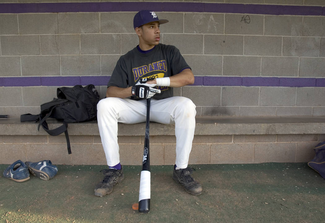 Durango High School senior shortstop Tommy Pham prepares for practice at the school Thursday, April 20, 2006. Pham has signed to play at Cal State Fullerton. (K.M. Cannon/Las Vegas Review-Journal)