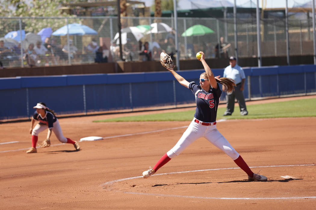 Coronado's Tatum Spangler (5) pitches against Basic during the 2018 NIAA Class 4A Sunrise Region championship at Bishop Gorman High School on Saturday, May 12, 2018. Michael Quine/Las Vegas Review ...