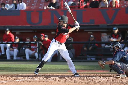 UNLV outfielder Kyle Isbel bats against Loyola Marymount at Wilson Stadium on Feb. 18. Photo courtesy of UNLV Athletics.