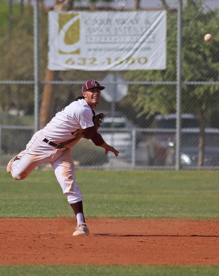 Cimarron Memorial's Niko Decolati throws the ball during a baseball game against Arbor View at Cimarron-Memorial High School Tuesday, April 14, 2015, in Las Vegas. (Ronda Churchill/Las Vegas Revie ...