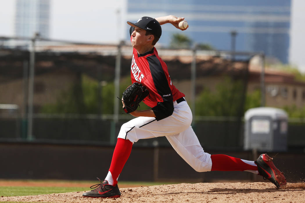UNLV'S pitcher Trevor Horn (34) pitches against Air Force during the third inning at the Earl Wilson Stadium in Las Vegas on Sunday, April 15, 2018. Andrea Cornejo Las Vegas Review-Journal @dreaco ...