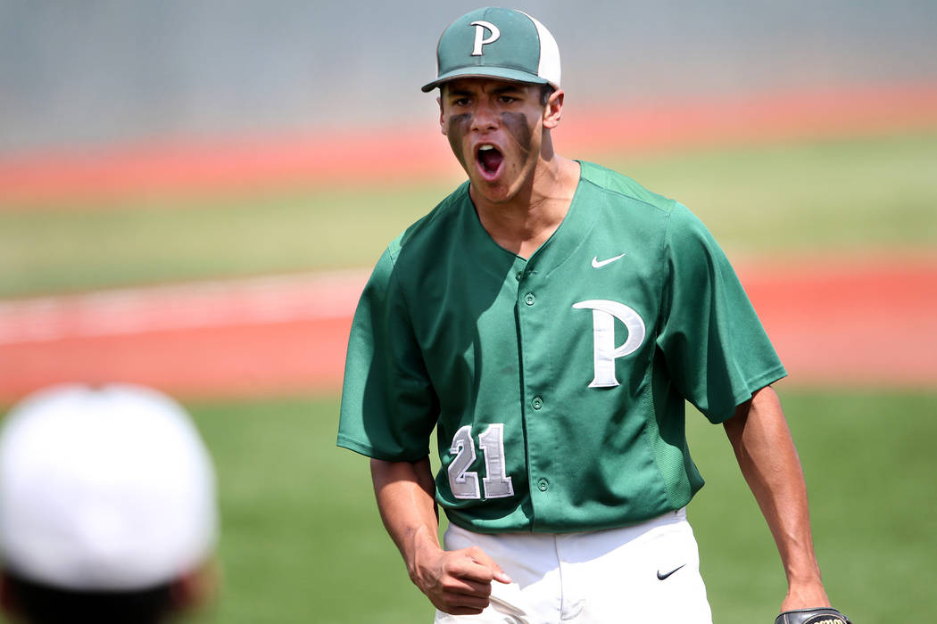 Palo Verde pitcher Jaret Godman fires up the bench against Basic in the NIAA 4A baseball championship game in Reno, Nev., on Saturday, May 19, 2018. Palo Verde won 4-2. Cathleen Allison/Las Vegas ...