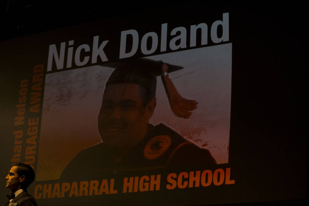 Chaparral's Nick Doland receives the Richard Nelson Courage Award during the Best Of Nevada Preps Awards at the Thomas & Mack Center in Las Vegas on Sunday, June 3, 2018. Richard Brian Las Vegas R ...