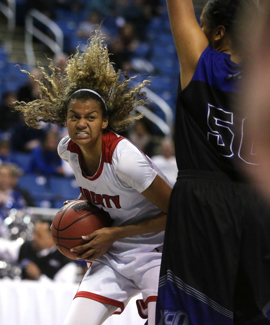 Liberty's Rae Burrell looks to shoot against McQueen during the NIAA state basketball tournament in Reno, Nev. on Thursday, Feb. 22, 2018. Liberty defeated McQueen 71-33. Cathleen Allison/Las Vega ...
