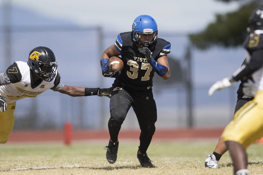 Sierra Vista's Jahssiah Maiava (37) runs the ball against Clark in their football game at Sierra Vista High School in Las Vegas, Saturday, Sept. 23, 2017. Sierra Vista won 49-14. Erik Verduzco Las ...