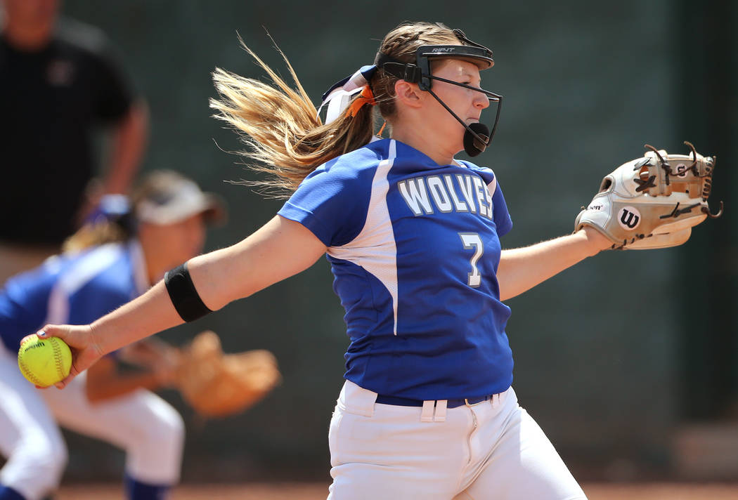 Basic Wolves' Shelby Basso pitches against the Douglas Tigers during the NIAA 4A softball tournament, in Reno, Nev., on Thursday, May 17, 2018. Douglas won 8-5. Cathleen Allison/Las Vegas Review-J ...