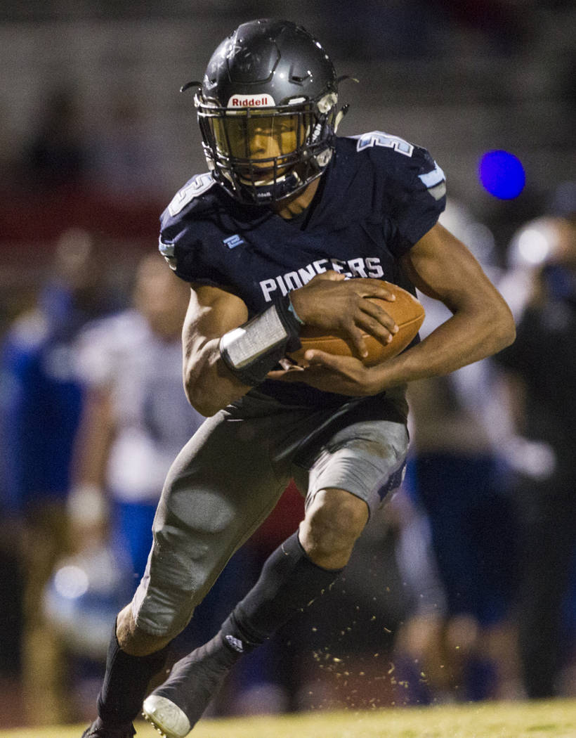 Canyon Spring's Jayvion Pugh (3) runs the ball against Basic during their playoff football game at Canyon Spring High School in Las Vegas, Friday, Nov. 3, 2017. Erik Verduzco Las Vegas Review-Jour ...