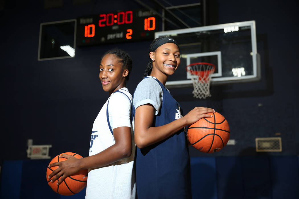 Aaliyah Gayles, 14, left, and Taylor Bigby, 15, pose at the Tarkanian Basketball Academy in Las Vegas, Saturday, June 30, 2018. Erik Verduzco Las Vegas Review-Journal @Erik_Verduzco
