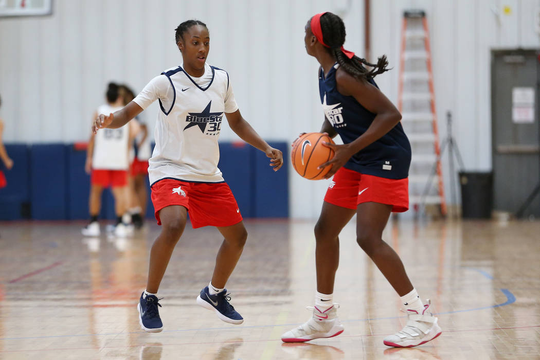 Aaliyah Gayles, 14, poses at the Tarkanian Basketball Academy in Las Vegas, Saturday, June 30, 2018. Erik Verduzco Las Vegas Review-Journal @Erik_Verduzco
