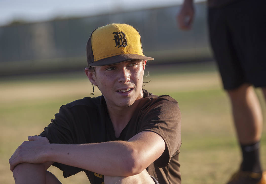 Bonanza High School's Robert Shook rests at baseball practice at Bonanza High School in Las Vegas, Tuesday, July 3, 2018. Rachel Aston Las Vegas Review-Journal @rookie__rae