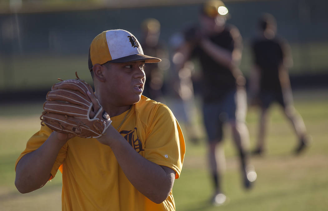 Bonanza High School's Makai DeSoto winds to pitch the ball during drills at baseball practice at Bonanza High School in Las Vegas, Tuesday, July 3, 2018. Rachel Aston Las Vegas Review-Journal @roo ...