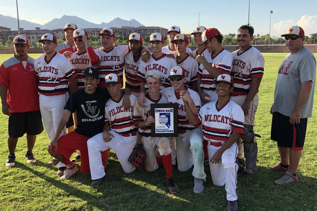 Las Vegas Cats players pose with the Connie Mack state championship plaque after a 9-8 victory over the Las Vegas Mustangs at Faith Lutheran High School on Monday night. Sam Gordon/Las Vegas Revie ...
