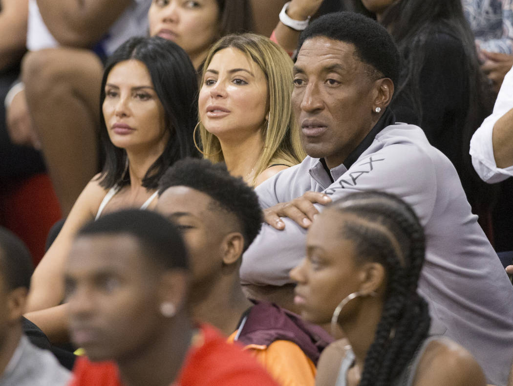 Scottie Pippen, right, a six-time NBA champion with the Chicago Bulls, watches his son compete in the Made Hoops Summer Showcase on Wednesday, July 25, 2018, at Liberty High School, in Las Vegas. ...