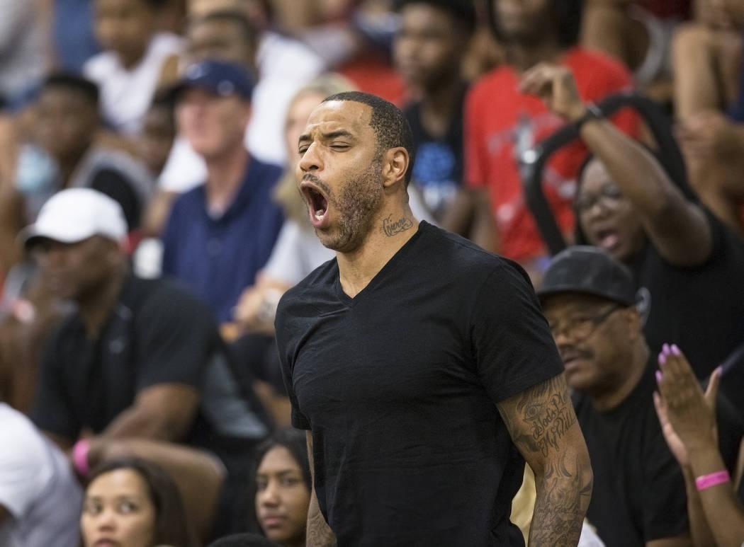 Kenyon Martin, a 15-year NBA veteran, cheers for his son Kenyon Martin Jr during the Made Hoops Summer Showcase on Wednesday, July 25, 2018, at Liberty High School, in Las Vegas. Benjamin Hager La ...