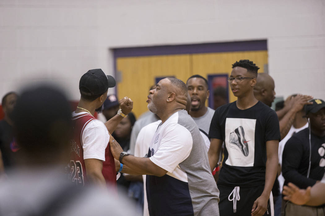 Fans voice their frustration after a game featuring Lebron James' son was canceled due to security concerns at the Made Hoops Summer Showcase on Wednesday, July 25, 2018, at Liberty High School, i ...