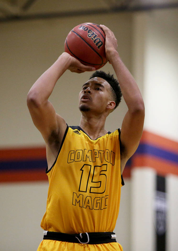 Compton Magic's Isaiah Mobley (15) throws a free throw at a game against Bishop Gorman at Bishop Gorman High School in Las Vegas, Wednesday, July 25, 2018. Rachel Aston Las Vegas Review-Journal @r ...