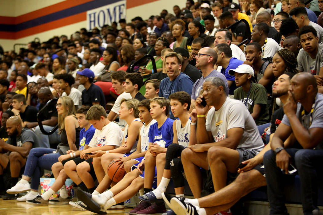 A packed house watches the game between Compton Magic and Bishop Gorman at Bishop Gorman High School in Las Vegas, Wednesday, July 25, 2018. Rachel Aston Las Vegas Review-Journal @rookie__rae