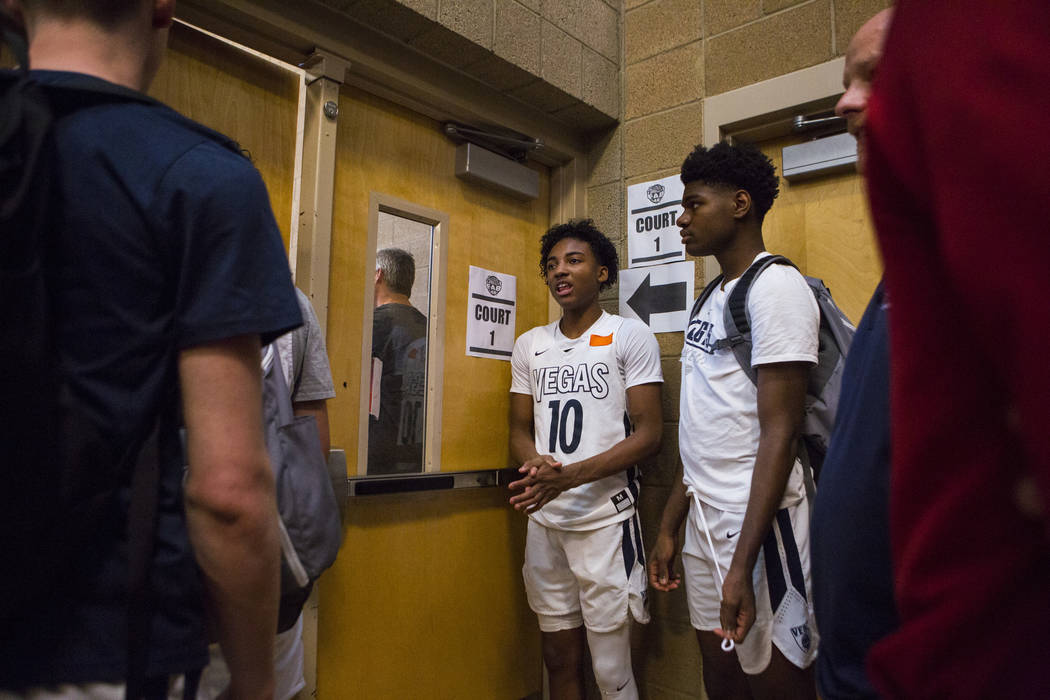 Vegas Elite guard Zaon Collins (10) before playing against We All Can Go as part of the Fab 48 tournament at Desert Oasis High School in Las Vegas on Friday, July 27, 2018. Chase Stevens Las Vegas ...