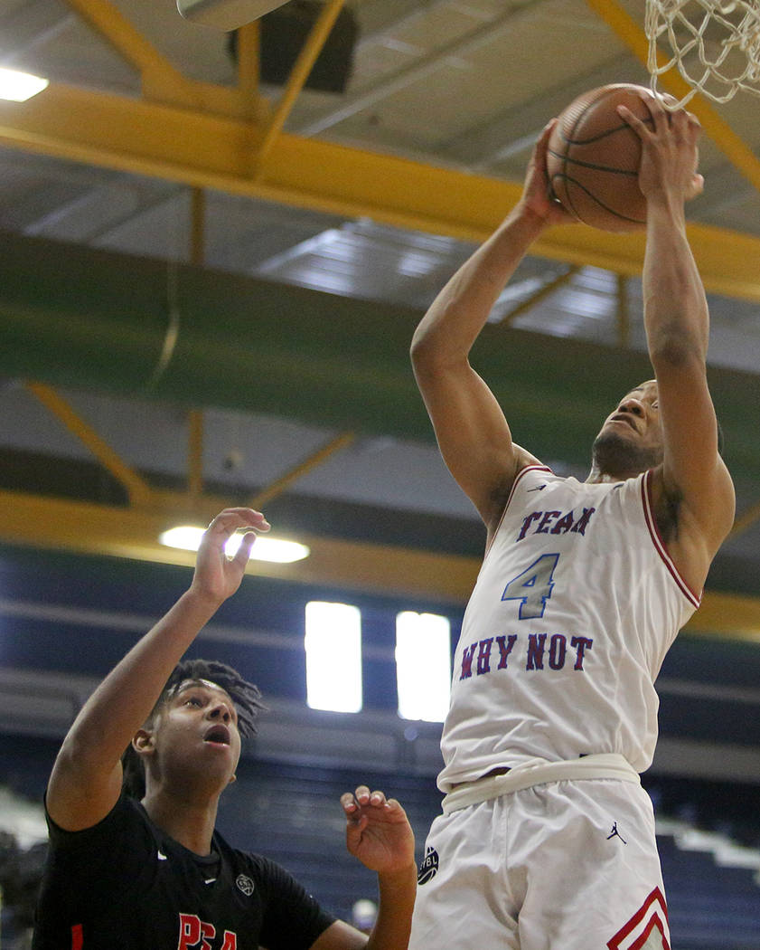 Why Not's Cassius Stanley (4) makes a basket against team Why Not at the Las Vegas Classic tournament at Spring Valley High School in Las Vegas, Thursday, July 26, 2018. Rachel Aston Las Vegas Rev ...