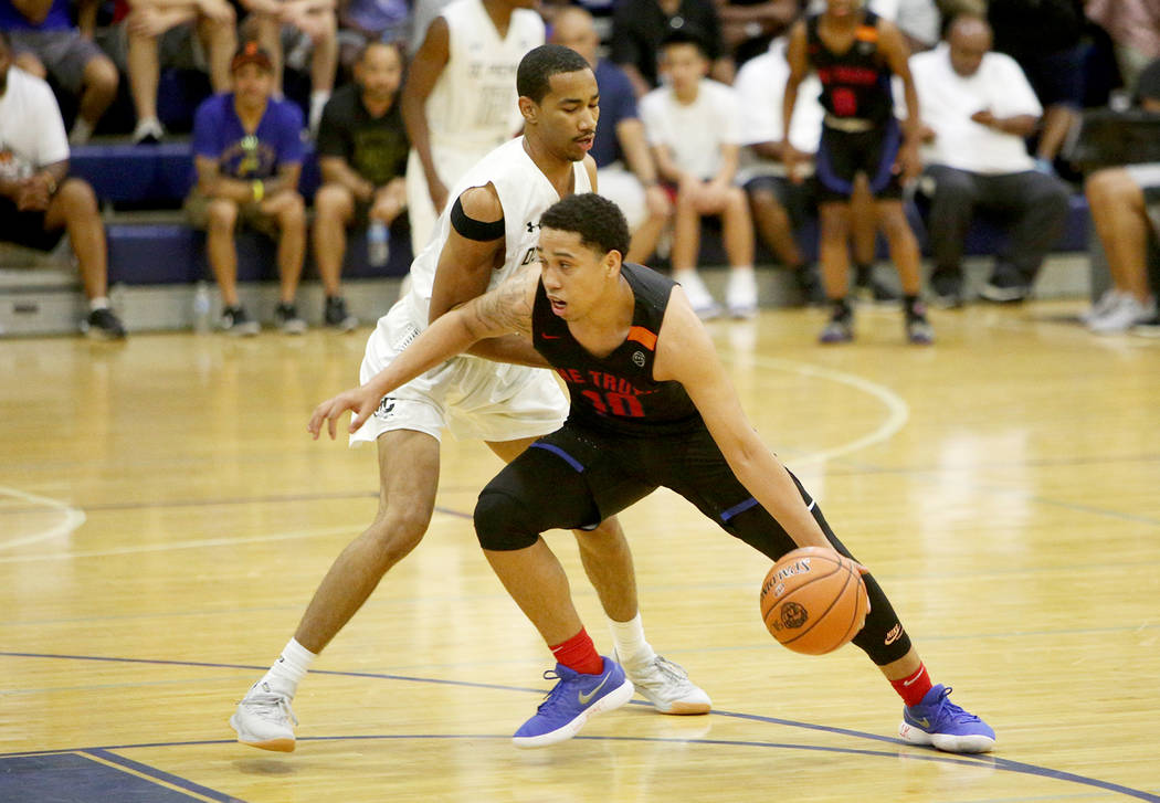 The Truth's Ismael Cruz (10) prepares to dribble past DC Premier's Mekhi Long (11) at the Fab 48 tournament at Bishop Gorman High School in Las Vegas, Sunday, July 29, 2018. Rachel Aston Las Vegas ...