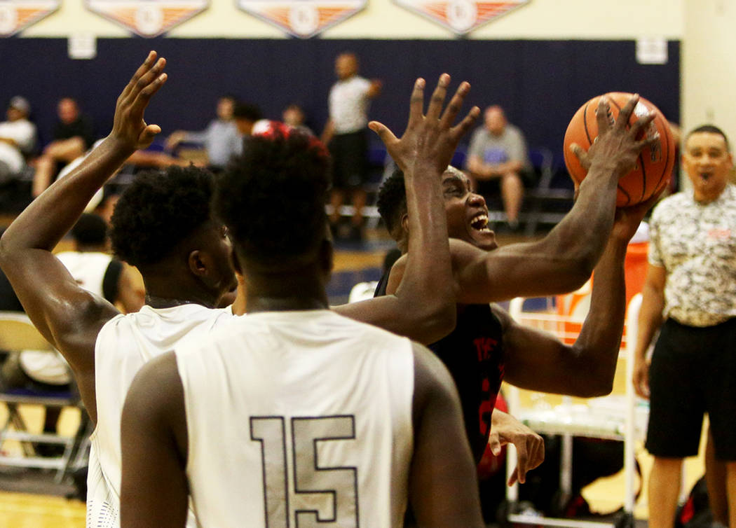 The Truth's Prince Gilliam (23) tries for a basket against DC Premier at the Fab 48 tournament at Bishop Gorman High School in Las Vegas, Sunday, July 29, 2018. Rachel Aston Las Vegas Review-Journ ...