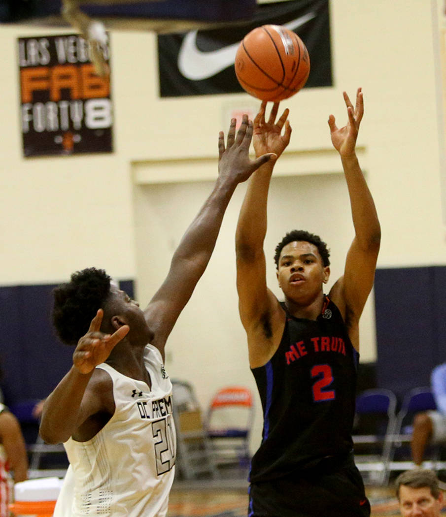The Truth's Keshad Johnson (2) shoots for a basket against DC Premier's Makhel Mitchell (20) at the Fab 48 tournament at Bishop Gorman High School in Las Vegas, Sunday, July 29, 2018. Rachel Aston ...