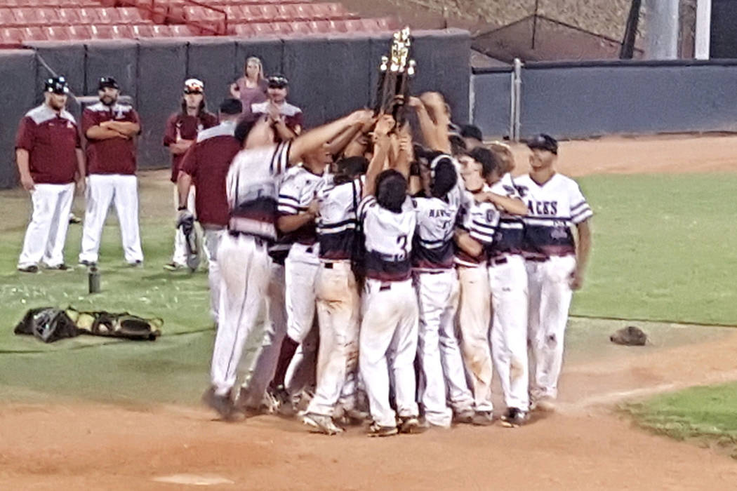 Desert Oasis Aces players celebrate winning the American Legion state championship. Special to the Las Vegas Review-Journal