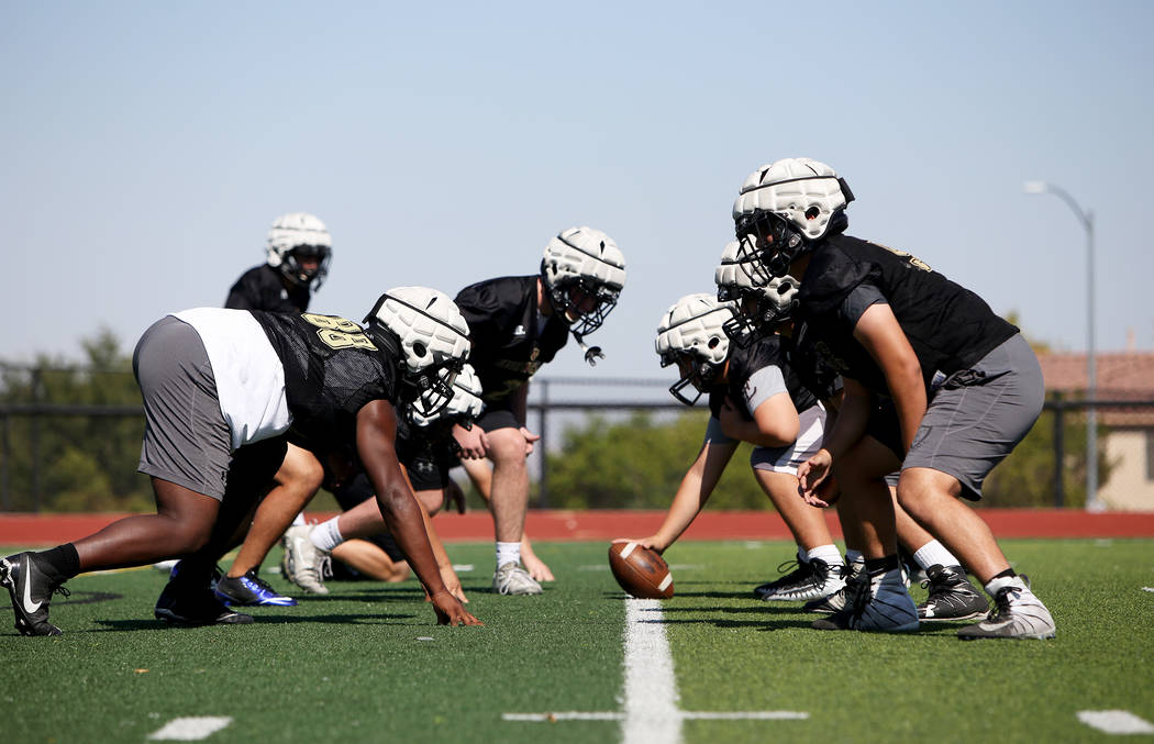 The Faith Lutheran football team practices drills during practice at Faith Lutheran High School in Las Vegas, Monday, Aug. 6, 2018. Rachel Aston Las Vegas Review-Journal @rookie__rae