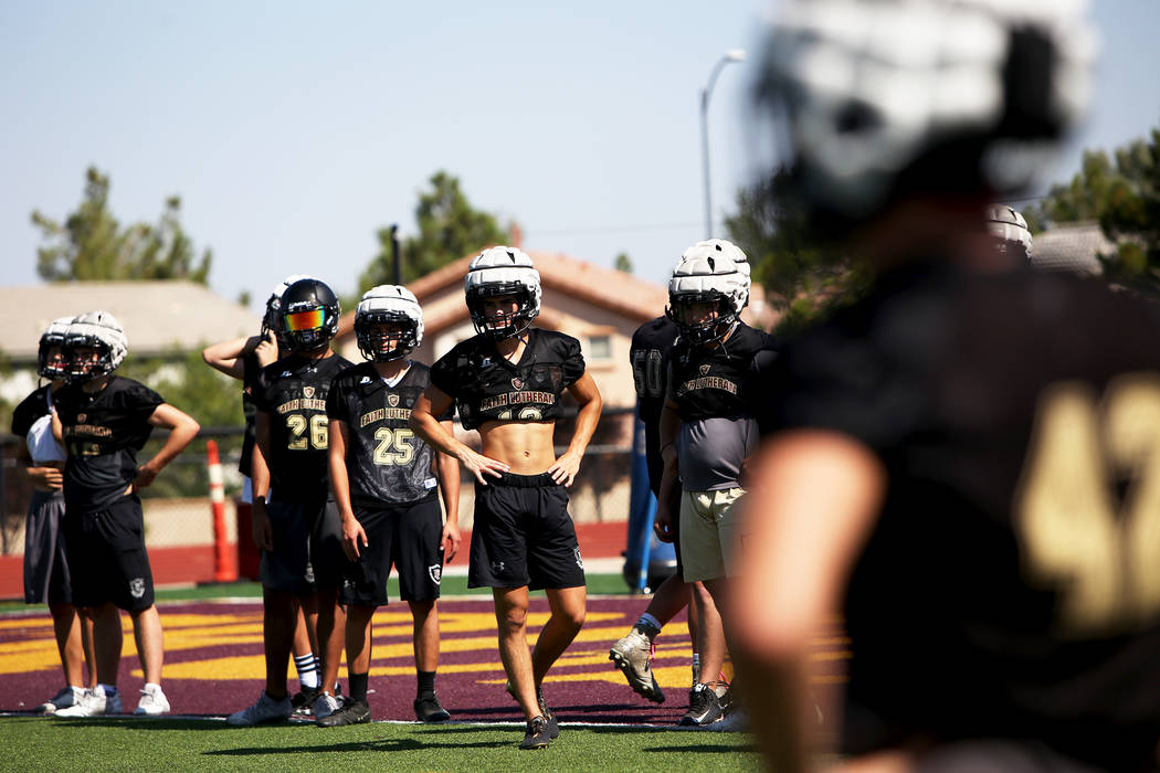 The Faith Lutheran football team during practice at Faith Lutheran High School in Las Vegas, Monday, Aug. 6, 2018. Rachel Aston Las Vegas Review-Journal @rookie__rae