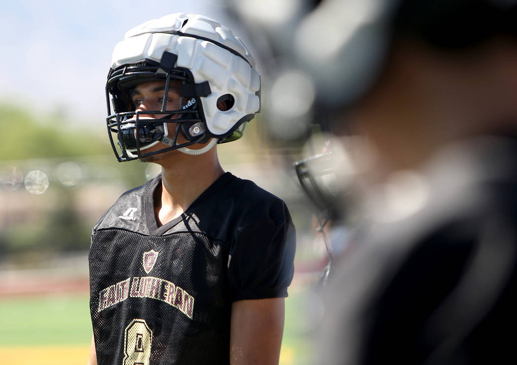 Greg Oliver (8) Faith Lutheran football team practice at Faith Lutheran High School in Las Vegas, Monday, Aug. 6, 2018. Rachel Aston Las Vegas Review-Journal @rookie__rae