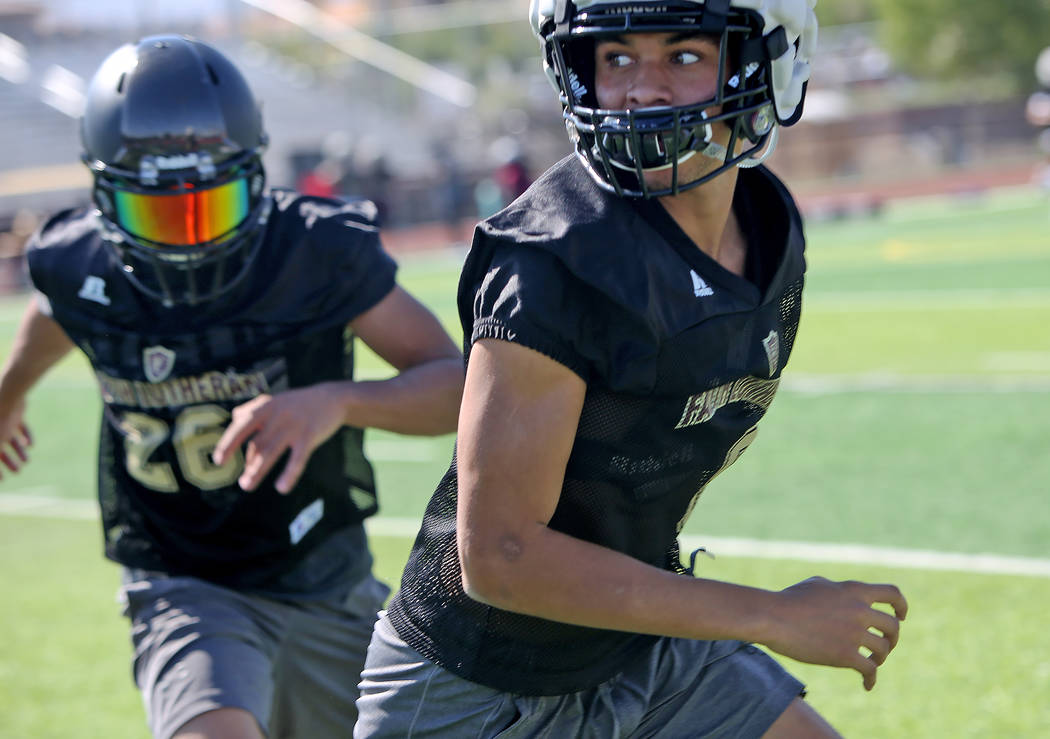 Greg Oliver (8) during a drill at Faith Lutheran football team practice at Faith Lutheran High School in Las Vegas, Monday, Aug. 6, 2018. Rachel Aston Las Vegas Review-Journal @rookie__rae