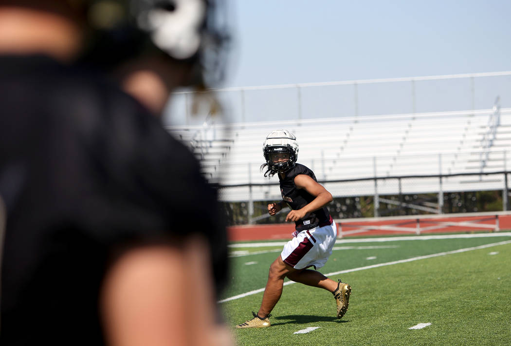 Taimani McKenzie (10) during a drill at Faith Lutheran football team practice at Faith Lutheran High School in Las Vegas, Monday, Aug. 6, 2018. Rachel Aston Las Vegas Review-Journal @rookie__rae