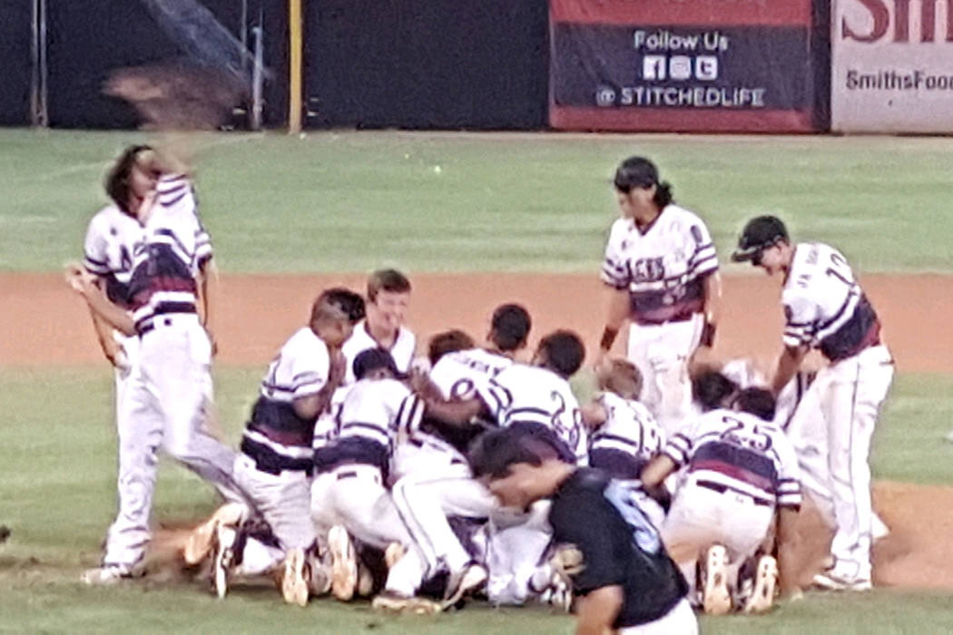 The Desert Oasis Aces celebrate after winning the American Legion state title. Special to the Review-Journal