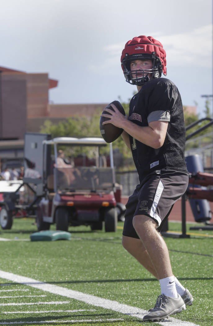 Faith Lutheran quarterback Sagan Gronauer (7)warms up during practice at Faith Lutheran High School in Las Vegas, on Monday, Aug. 21, 2017. Gabriella Angotti-Jones Las Vegas Review-Journal @gabri ...