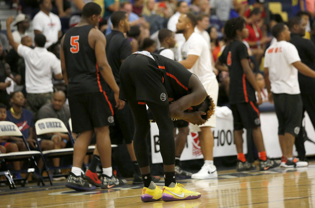 Mac Irvin Fire's Kahlil Whitney (2) reacts after their loss against California Stars after the the Las Vegas Classic platinum premier championship game at Spring Valley High School in Las Vegas, S ...