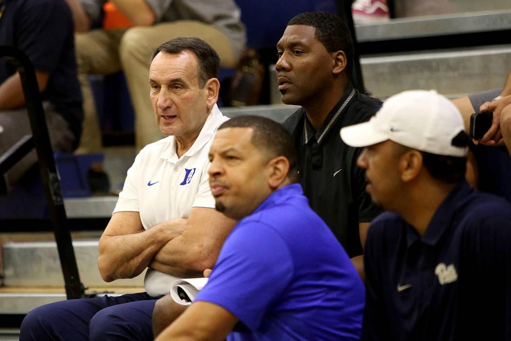 Duke basketball coach Mike Krzyzewski at the game of Compton Magic against Bishop Gorman at Bishop Gorman High School in Las Vegas, Wednesday, July 25, 2018. Rachel Aston Las Vegas Review-Journal ...