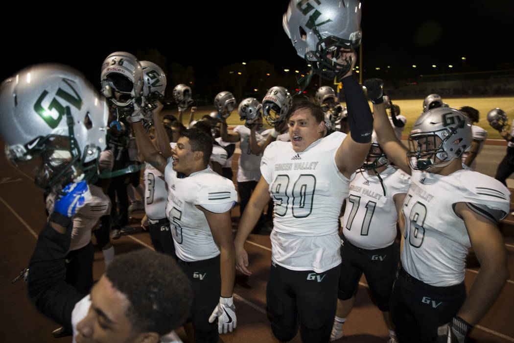 Green Valley celebrates their 14-7 victory against Canyon Springs in the playoff football game at Canyon Springs High School in Las Vegas, Thursday, Nov. 9, 2017. Erik Verduzco Las Vegas Review-Jo ...