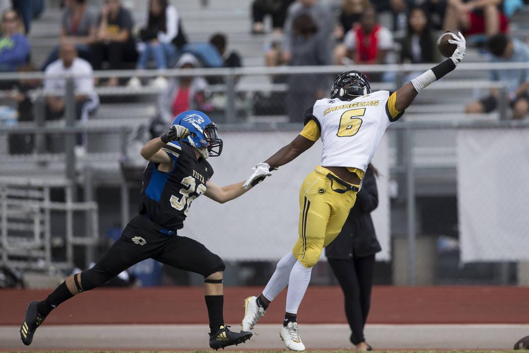 Clark's Isaiah Bigby (6) leaps for a dropped pass against Sierra Vista in their football game at Sierra Vista High School in Las Vegas, Saturday, Sept. 23, 2017. Sierra Vista won 49-14. Erik Verdu ...